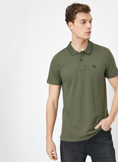 Koton Polo Yaka Kisa Kol % Pamuklu T-Shirt Yeşil